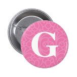 Monograma floral adornado - letra G Pins