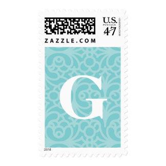 Monograma floral adornado - letra G Sellos Postales