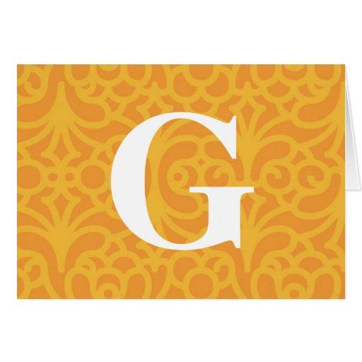 Monograma floral adornado - letra G Tarjetón