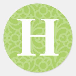 Monograma floral adornado - letra H Pegatina Redonda