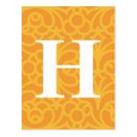 Monograma floral adornado - letra H Postal