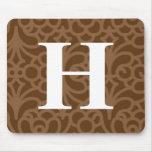 Monograma floral adornado - letra H Tapetes De Ratones