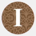 Monograma floral adornado - letra I Pegatina Redonda
