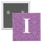 Monograma floral adornado - letra I Pins