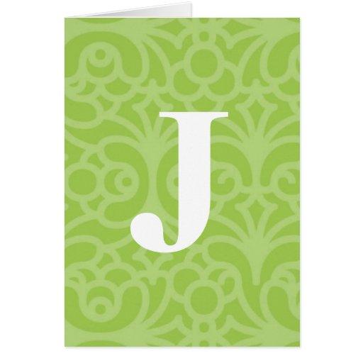 Monograma floral adornado - letra J Felicitación
