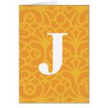 Monograma floral adornado - letra J Felicitaciones