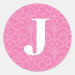 Monograma floral adornado - letra J Pegatina Redonda