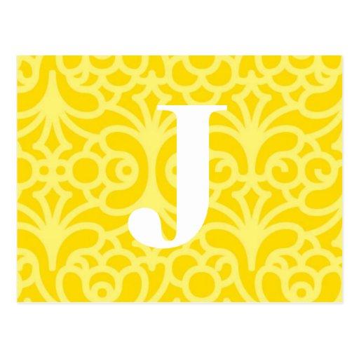 Monograma floral adornado - letra J Postales