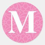 Monograma floral adornado - letra M Etiqueta