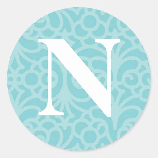 Monograma floral adornado - letra N Pegatina Redonda
