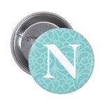 Monograma floral adornado - letra N Pin
