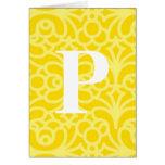 Monograma floral adornado - letra P Felicitaciones