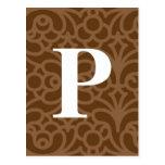 Monograma floral adornado - letra P Postales