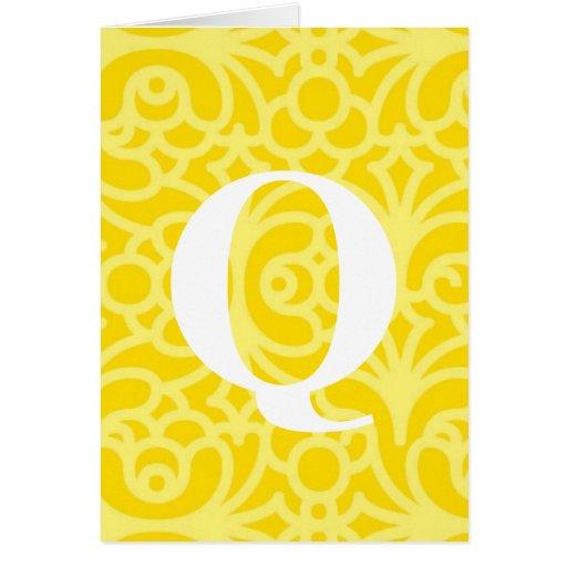 Monograma floral adornado - letra Q Felicitacion