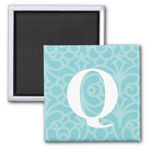 Monograma floral adornado - letra Q Imán Cuadrado