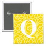Monograma floral adornado - letra Q Pin