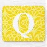 Monograma floral adornado - letra Q Tapete De Ratón