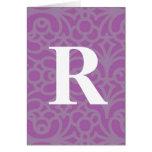 Monograma floral adornado - letra R Felicitación