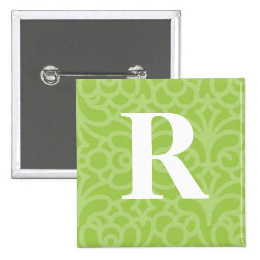 Monograma floral adornado - letra R Pin