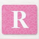 Monograma floral adornado - letra R Alfombrilla De Raton