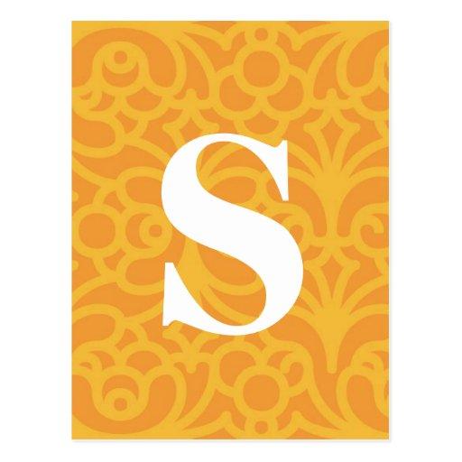 Monograma floral adornado - letra S Postal