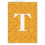 Monograma floral adornado - letra T Felicitaciones