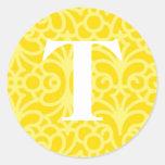 Monograma floral adornado - letra T Pegatinas Redondas