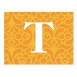 Monograma floral adornado - letra T Postal