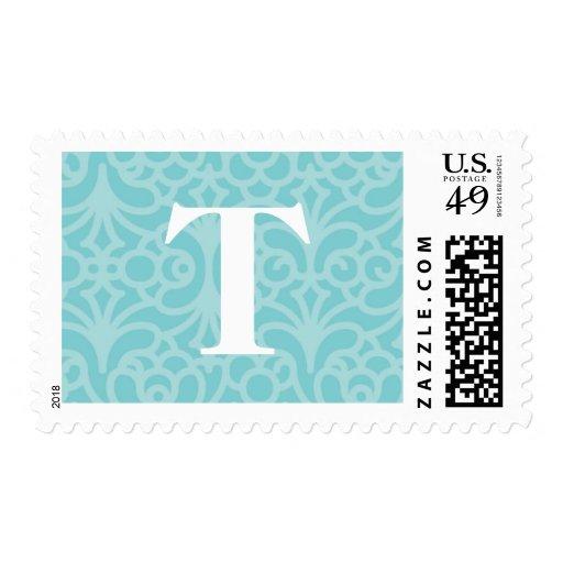 Monograma floral adornado - letra T Sello