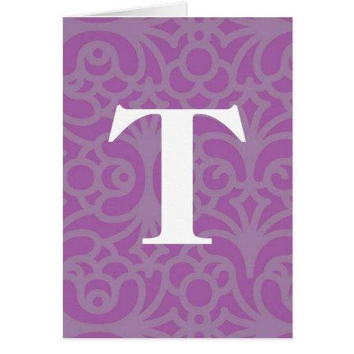 Monograma floral adornado - letra T Tarjeta De Felicitación