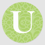 Monograma floral adornado - letra U Pegatinas Redondas