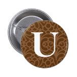 Monograma floral adornado - letra U Pin