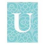 Monograma floral adornado - letra U Tarjetas Postales