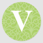 Monograma floral adornado - letra V Pegatina Redonda