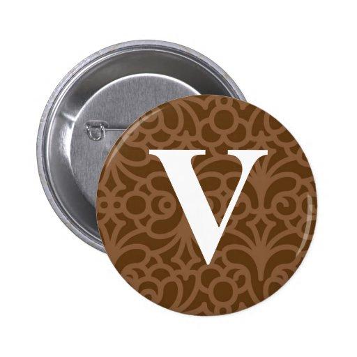 Monograma floral adornado - letra V Pin