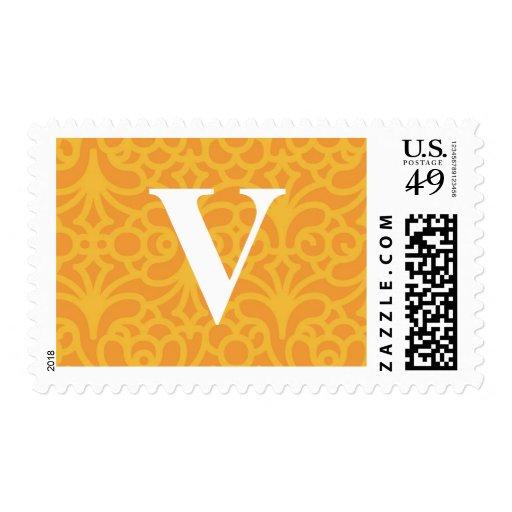 Monograma floral adornado - letra V Sellos