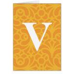 Monograma floral adornado - letra V Tarjetas