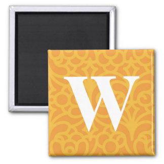 Monograma floral adornado - letra W Imán Cuadrado