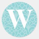 Monograma floral adornado - letra W Etiqueta Redonda