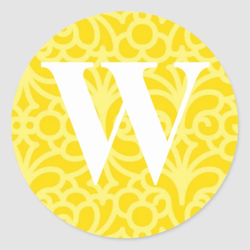 Monograma floral adornado - letra W Pegatina Redonda