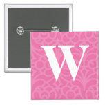 Monograma floral adornado - letra W Pins