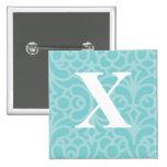 Monograma floral adornado - letra X Pins