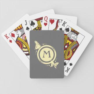 Monograma floral amarillo de la mariposa en gris cartas de póquer