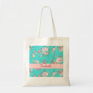 Monograma floral apacible del vintage elegante bolsa tela barata