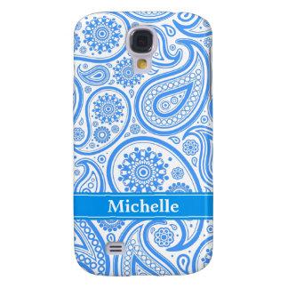 Monograma floral azul de Paisley Carcasa Para Galaxy S4