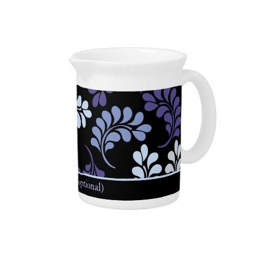 Monograma floral azul púrpura jarrones