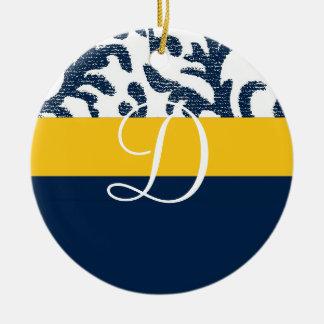 Monograma floral azul y amarillo adorno para reyes