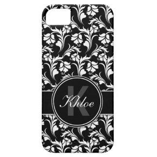 Monograma floral blanco negro del caso del iPhone iPhone 5 Funda