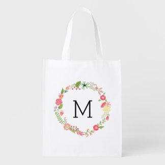 Monograma floral bonito bolsa para la compra