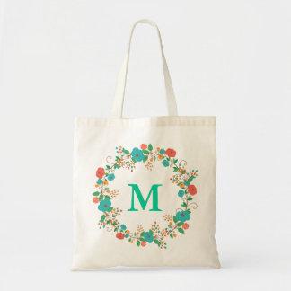 Monograma floral bonito de la guirnalda bolsa tela barata